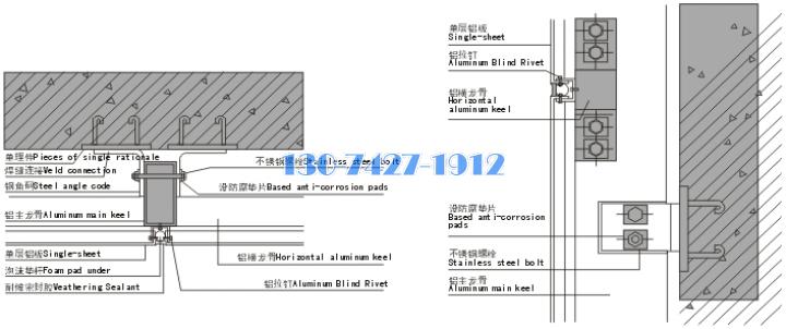外墙铝单板与底层预埋结构