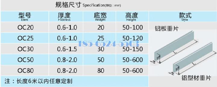 U型鋁方通規格標準