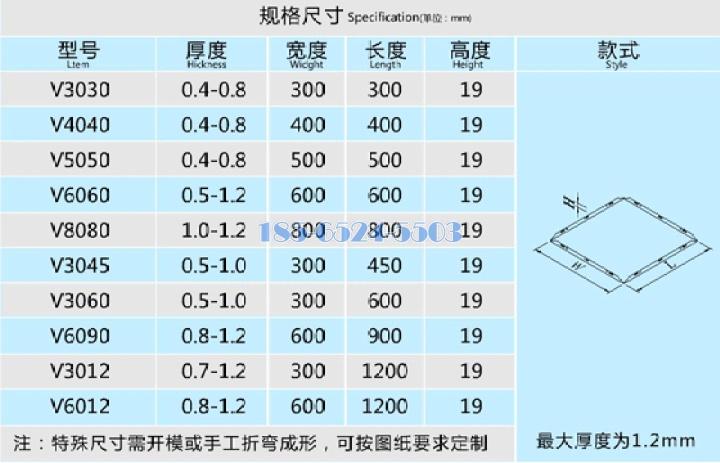 鋁扣板規格標準
