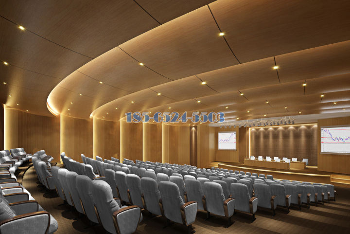 金融中-心会议厅双曲弧形木纹铝单板
