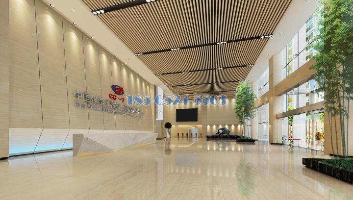 中国化学工程第七分公司大厅黑色灯槽铝板