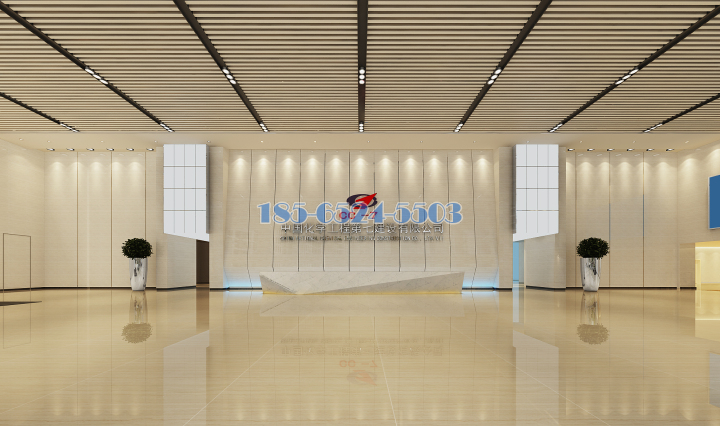 中國化學工程第七分公司大廳吊頂木紋鋁方通