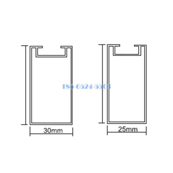 型材鋁方通橫截面節點