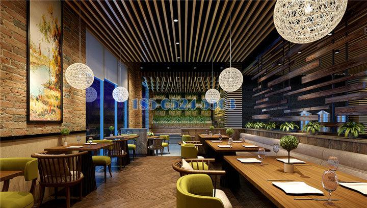 高檔商場餐廳安裝木紋鋁方通吊頂