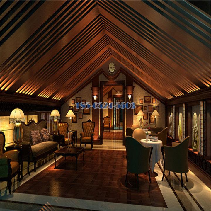玫瑰金色多種寬底不同間距混合斜角安裝鋁方通吊頂