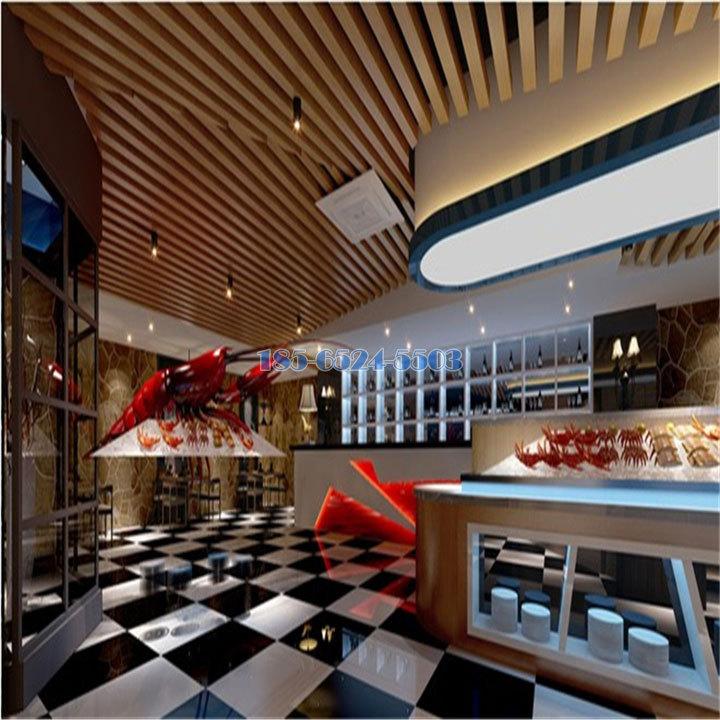 酒吧吧臺木紋鋁方通吊頂