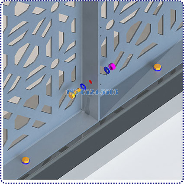 螺丝穿透两铝板折边相互连接一起